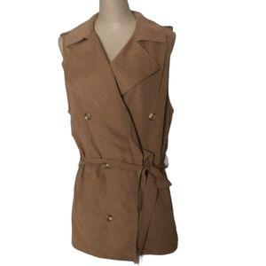 Love Tree Sleeveless Brown Front Tie Vest Sz L